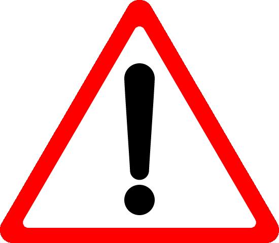 危険・注意警告(ビックリマーク)の標識イラストアイコン<赤色:三角形>
