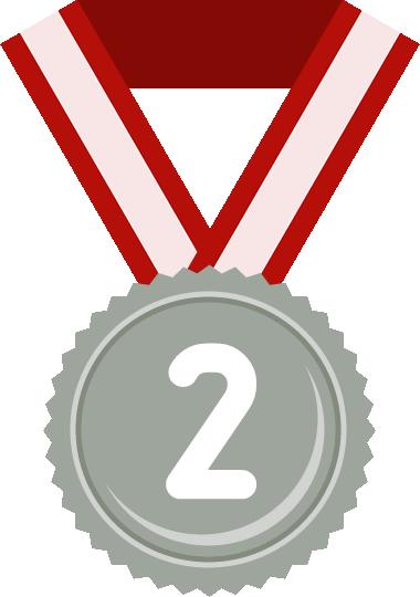 銀メダル(2位)のフラットイラスト
