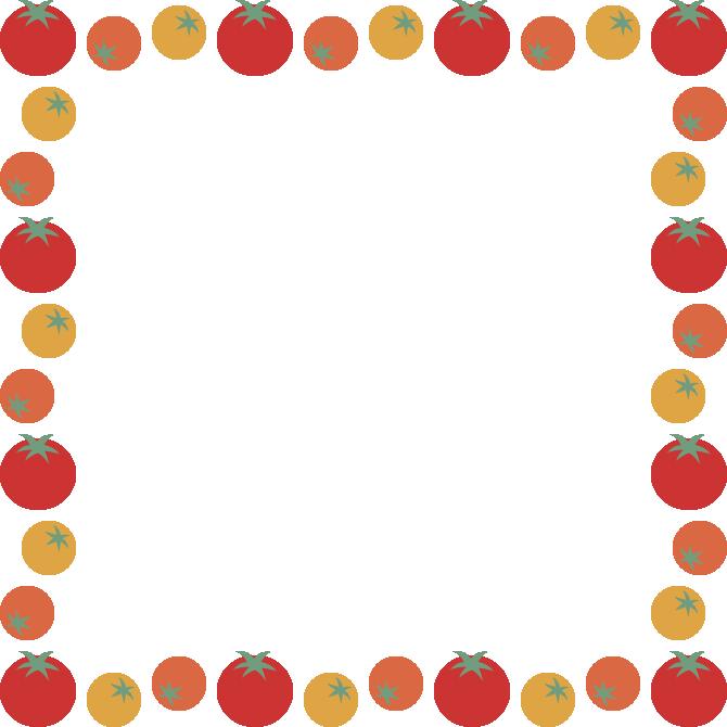 3色プチトマトのフレーム飾り枠イラスト(正方形)