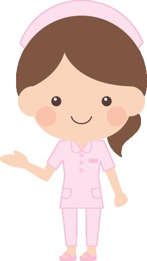 案内・紹介ポーズをする看護師(看護婦・ナース)の女性イラスト<全身>