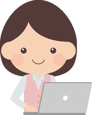 ノートパソコンをするOLのイラスト(キーボードタイピング)