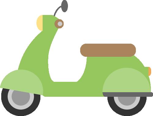 レトロなスクーター(原付バイク)の挿絵イラスト<黄緑色>