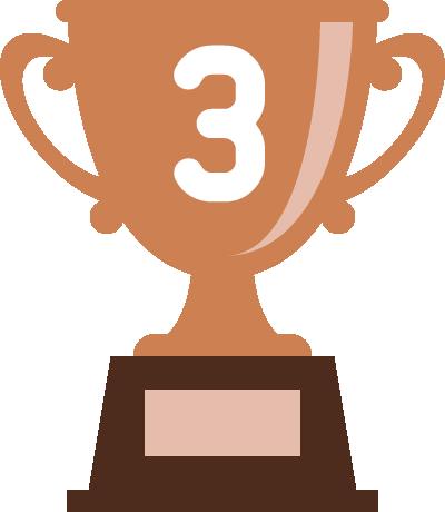 トロフィー(優勝カップ)のフラットイラスト<ランキング3位>