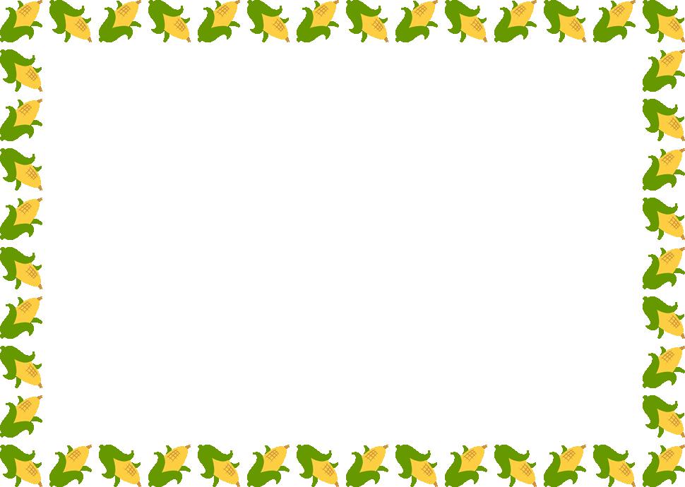 トウモロコシのフレーム飾り枠イラスト<長方形>