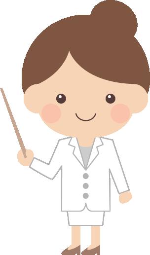 指示棒(指し棒)で説明する医師・薬剤師の女性イラスト<全身>