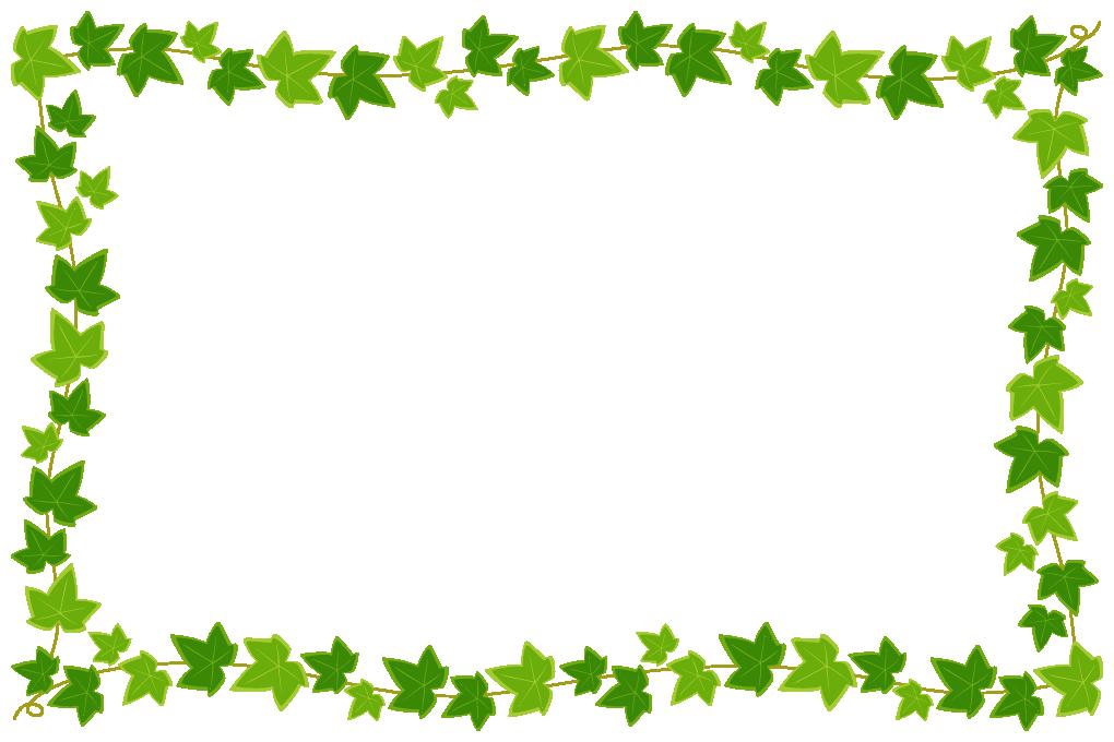 蔓(つる)が絡んだアイビー(蔦・つた)のフレーム飾り枠イラスト(W1000×H660px)