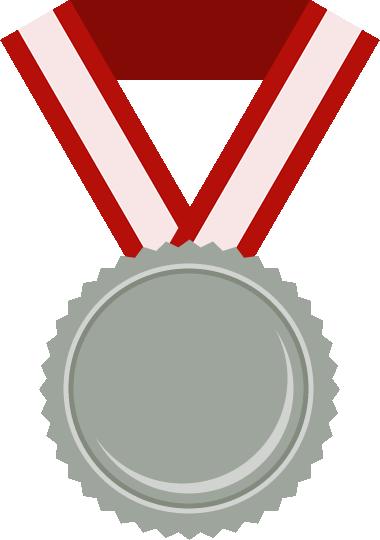 銀メダルのフラットイラスト