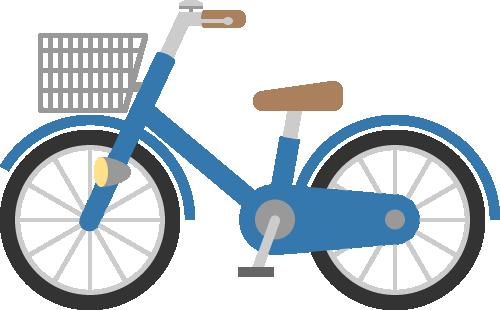 自転車(ママチャリ)の挿絵イラスト<青色>