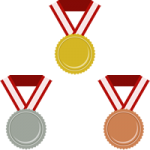 金メダル・銀メダル・銅メダルのフラットイラスト