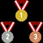金メダル・銀メダル・銅メダルのフラットイラスト<数字入り>