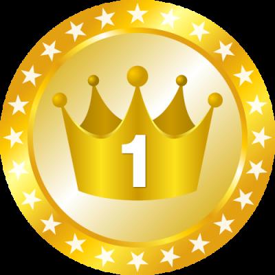 メダル型王冠イラスト<ランキング1位>