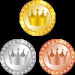 メダル型王冠イラスト<金・銀・銅>