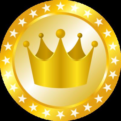 メダル型王冠イラスト<金>
