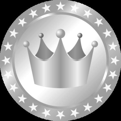 メダル型王冠イラスト<銀>