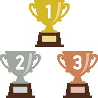 トロフィー(優勝カップ)のフラットイラスト<ランキング1位・2位・3位>