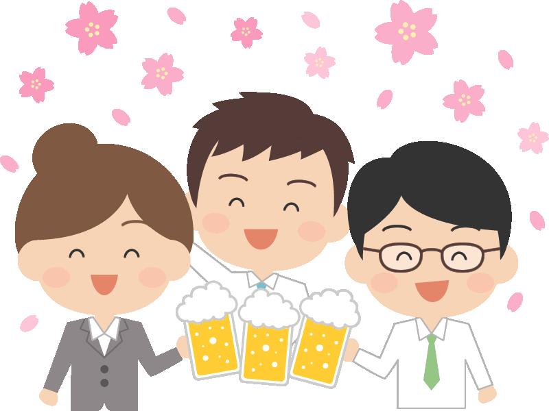 桜の下でお花見をするサラリーマン(会社員)