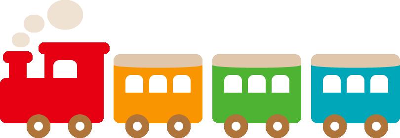カラフルな汽車ポッポのイラスト