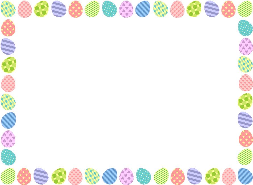 イースターエッグ(たまご)のフレーム飾り枠イラスト(W890×H650px)