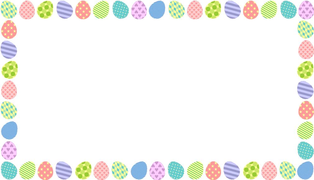 イースターエッグ(たまご)のフレーム飾り枠イラスト(W1010×H580px)