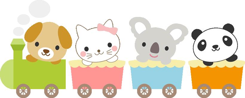 かわいい動物が乗った汽車のイラスト<犬・猫・コアラ・パンダ>