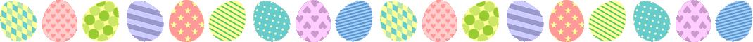 転がるイースターエッグ(タマゴ)のライン飾り罫線イラスト