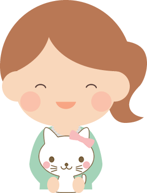 メスの子猫を抱っこする女性のイラスト