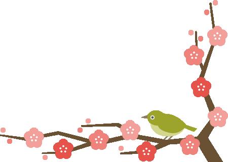 メジロと梅の木のコーナーフレーム飾り枠イラスト<下>