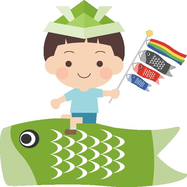鯉のぼりに乗った男の子のイラスト<緑色>