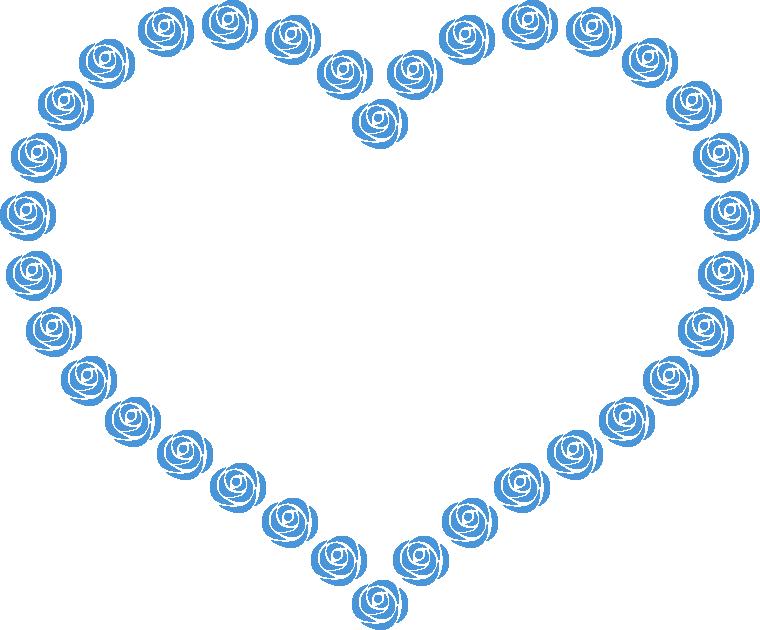 青いバラのハート型フレーム飾り枠イラスト