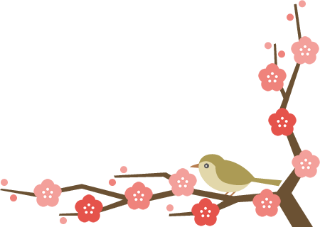 鴬(ウグイス)と梅の木のコーナーフレーム飾り枠イラスト<下>