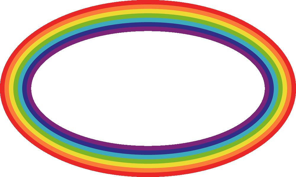 虹色(レインボーカラー)の丸型フレーム飾り枠イラスト<楕円形>