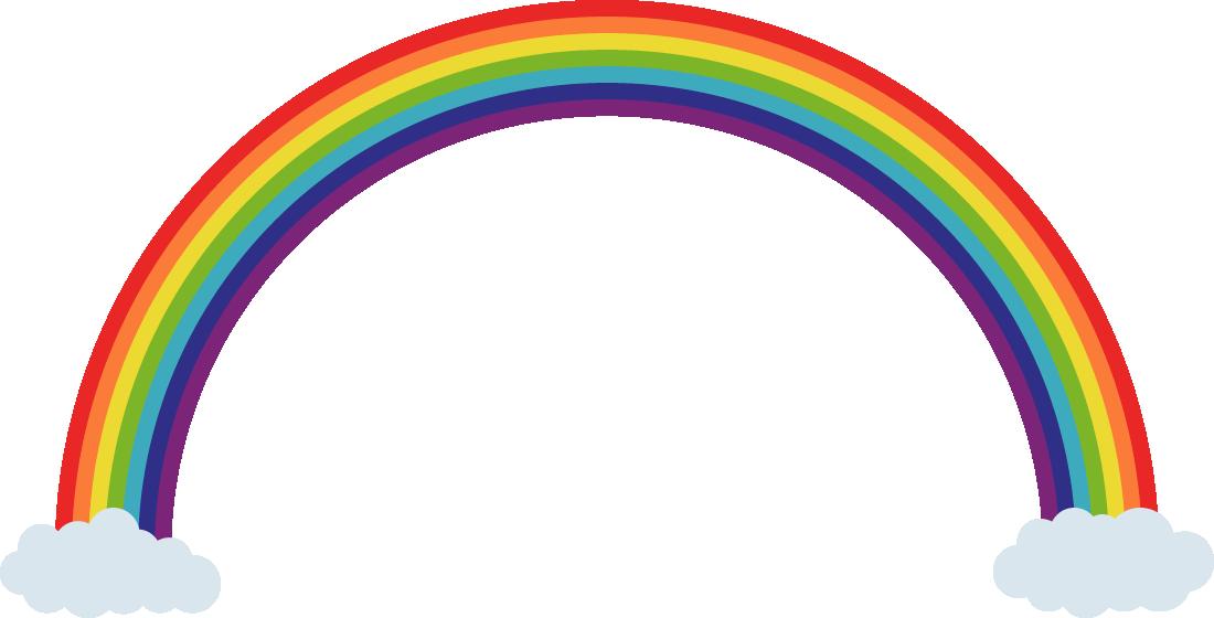 虹の架け橋(レインボーブリッジ)と雲のフレーム飾り枠イラスト