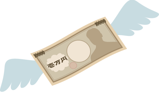 羽根が生えて飛んでいくお金(1万円札)のイラスト<左向き>