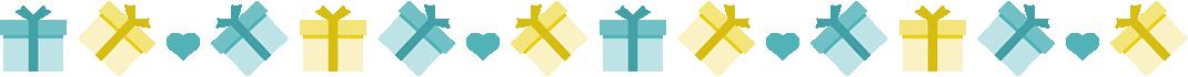 ギフトボックス(プレゼントBOX)のライン飾り罫線イラスト<ターコイズブルー>