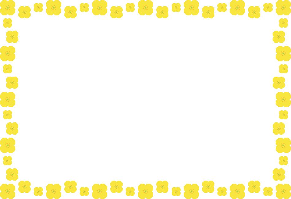 菜の花のフレーム飾り枠イラスト<長方形>