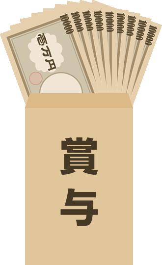 茶封筒にお金が入った賞与のイラスト