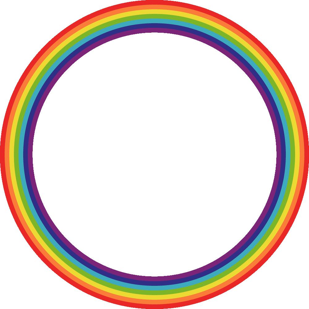 虹色(レインボーカラー)の丸型フレーム飾り枠イラスト<正円形>