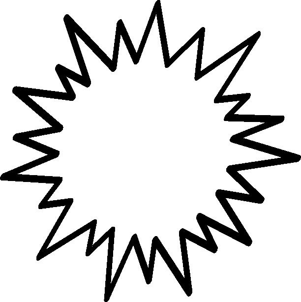 [爆弾]トゲトゲした吹き出し(フキダシ)イラスト<太線>