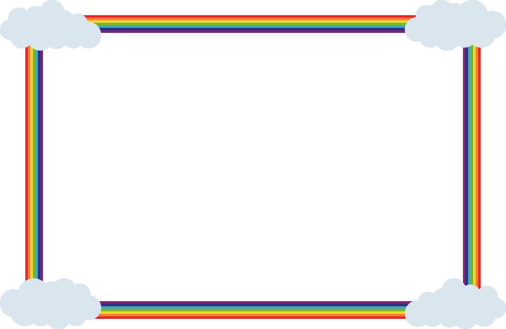 虹(レインボー)と雲のフレーム飾り枠イラスト<長方形>