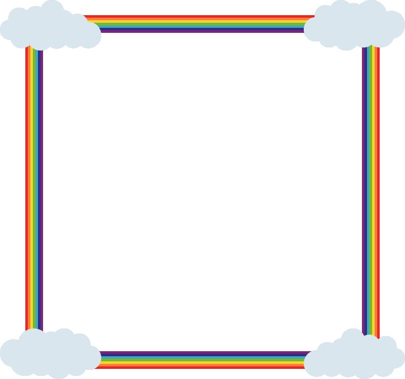 虹(レインボー)と雲のフレーム飾り枠イラスト<正方形>