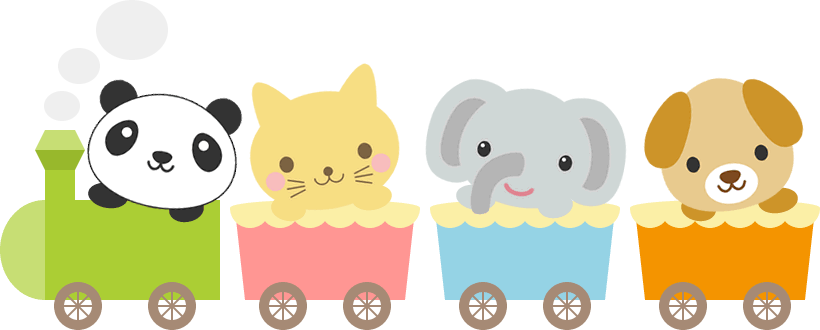 かわいい動物が乗った汽車のイラスト<パンダ・猫・ゾウ・犬>