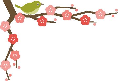 メジロと梅の木のコーナーフレーム飾り枠イラスト<上>