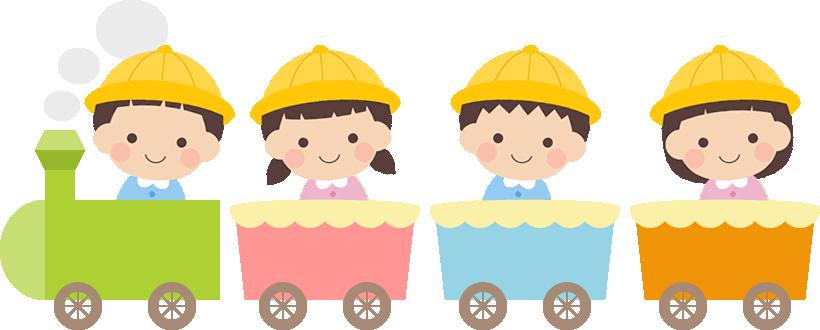 かわいい幼稚園生が乗った汽車のイラスト