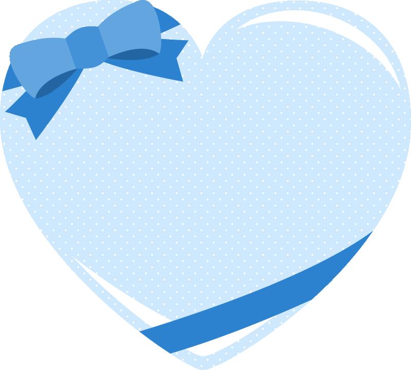 キュートな青のリボン付きハートのメッセージフレームイラスト