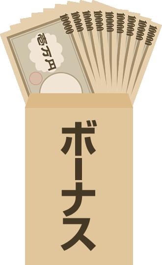 茶封筒にお金が入ったボーナスのイラスト