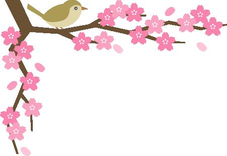 鴬(ウグイス)と桜の木のコーナーフレーム飾り枠イラスト<上>