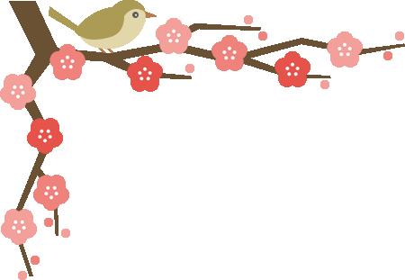 鴬(ウグイス)と梅の木のコーナーフレーム飾り枠イラスト<上>