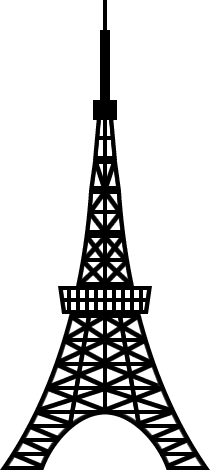 東京タワーのシルエットイラスト<白黒>