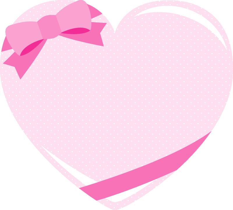 キュートなピンクのリボン付きハートのメッセージフレームイラスト