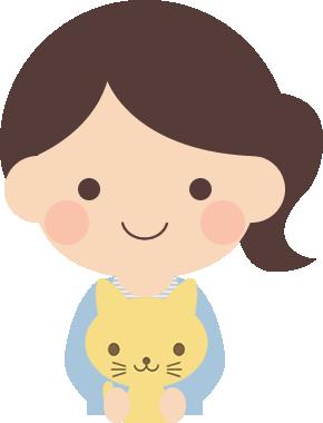 オスの子猫を抱っこする女性のイラスト